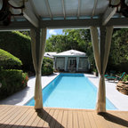 Inground Swimming Pool Deck Around Gunite Pool In White