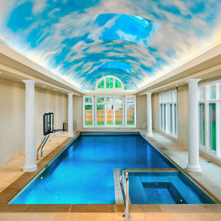 Example Of A Mid Sized Classic Indoor Rectangular And Stone Hot Tub Design  In Chicago