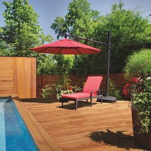 Modelo de piscina elevada, moderna, de tamaño medio, rectangular, en patio trasero, con entablado