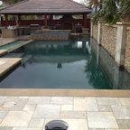 Ocean Blue Pebble Sheen Contemporary Pool Los