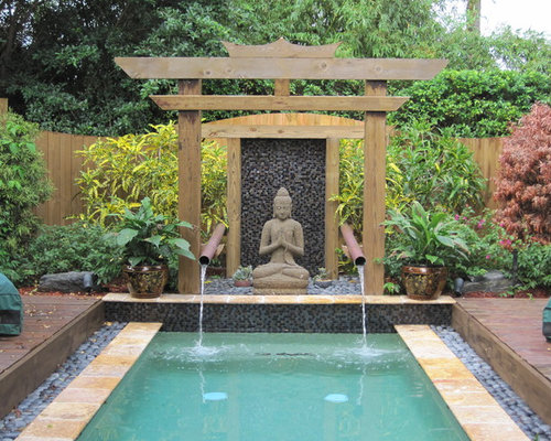 Rectangle Pool With Water Feature asian pool design ideas, remodels & photos