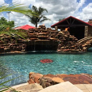 yorktown pool, water feature and outdoor living complex