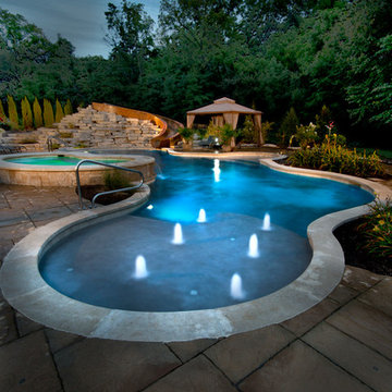 Yorkville, IL Freeform Swimming Pool and Hot Tub with Concrete Slide