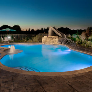 Yorkville, IL Freeform Swimming Pool With Water Slide and Water Features
