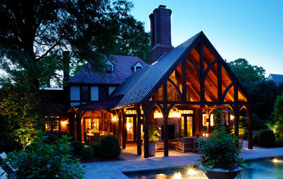 3-Season Rooms: Shade and Swimming for a Tudor-Style Patio