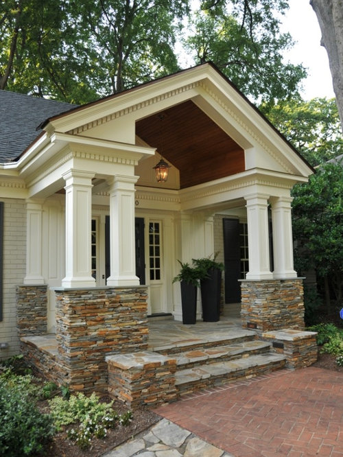 Stone porch designs home design for House plans with front porch columns
