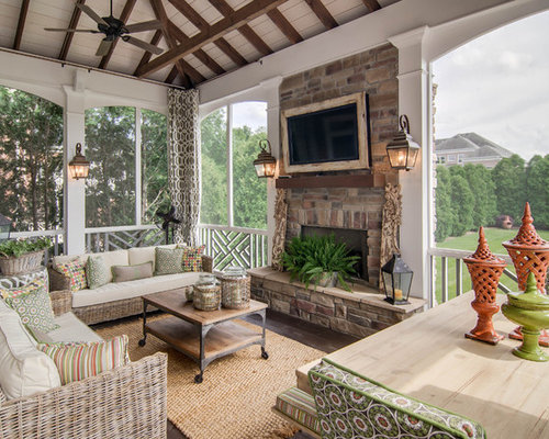 Enclosed Porch With Fireplace Houzz
