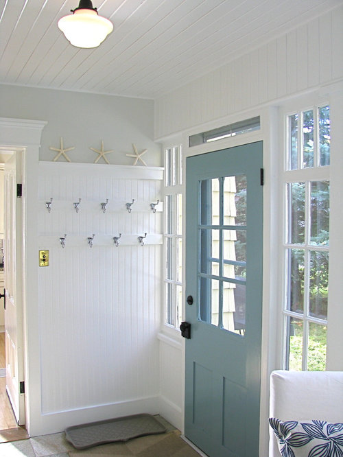 white beadboard mudroom