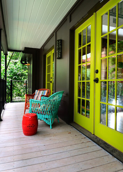 Eclectic Porch by Greymark Construction Company
