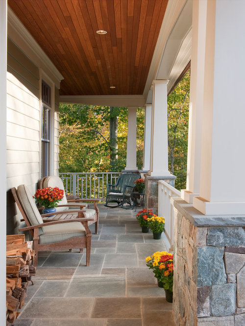 inspiration for a midsized craftsman front porch remodel in dc metro with a roof
