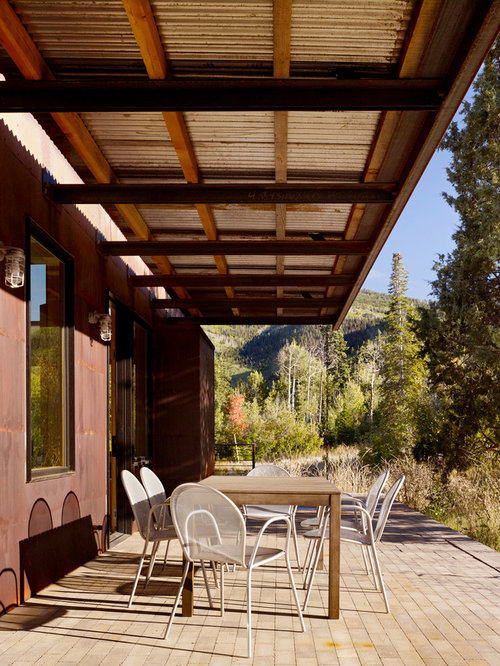 Superb Example Of A Minimalist Patio Design In Salt Lake City With Decking And An  Awning