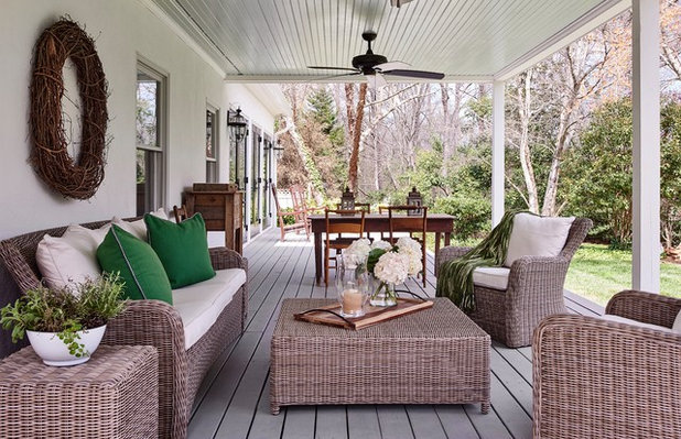 Transitional Porch by Ally Whalen Design