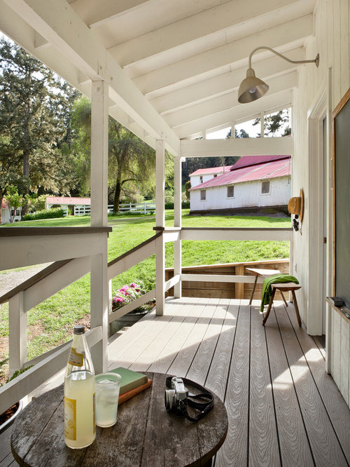 Country Porch Idea In San Francisco With Decking And A Roof Extension