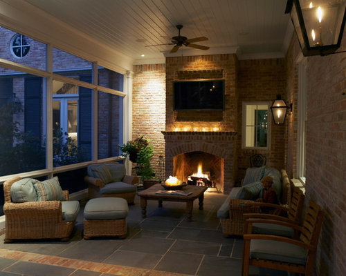 Screened porch tv ideas pictures remodel and decor for Screened porch fireplace designs