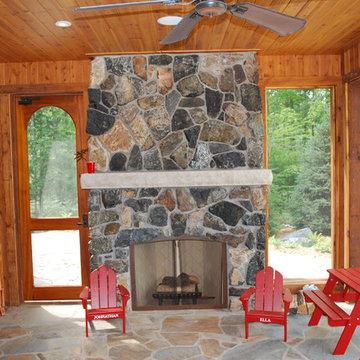 Black & Tan Natural Stone Veneer Fireplace