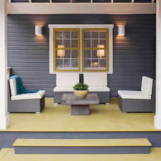 transitional porch by Texas Construction Company