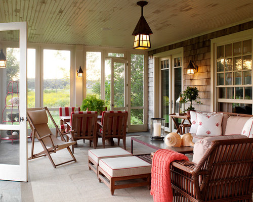 Screen porch furniture houzz Screened in porch decor