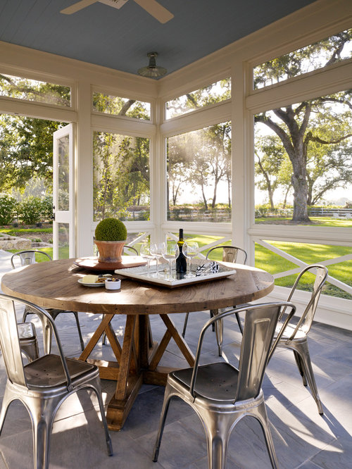 Inspiration For A Farmhouse Tile Screened In Porch Remodel In San Francisco  With A Roof