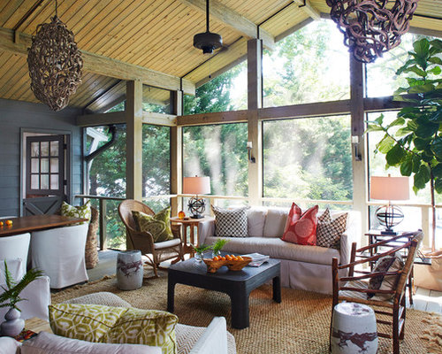 large coastal screened in back porch idea in birmingham with decking and a roof extension - Screen Porch Design Ideas