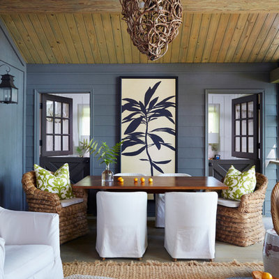 Inspiration for a large coastal back porch remodel in Birmingham with decking and a roof extension