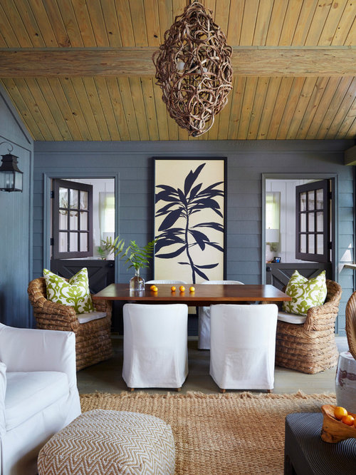 inspiration for a large beach style screened in back porch remodel in birmingham with decking - Screen Porch Design Ideas