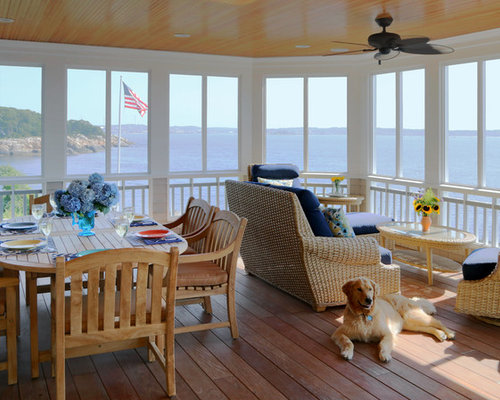 Coastal Screened In Porch Photo In Boston With Decking And A Roof Extension