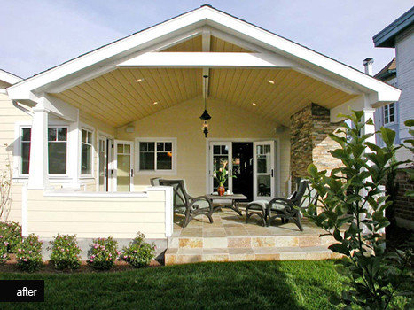 Open truss roof houzz for Open beam front porch