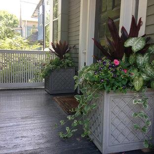 Idee per un portico chic di medie dimensioni e davanti casa con un giardino in vaso, pedane e un tetto a sbalzo