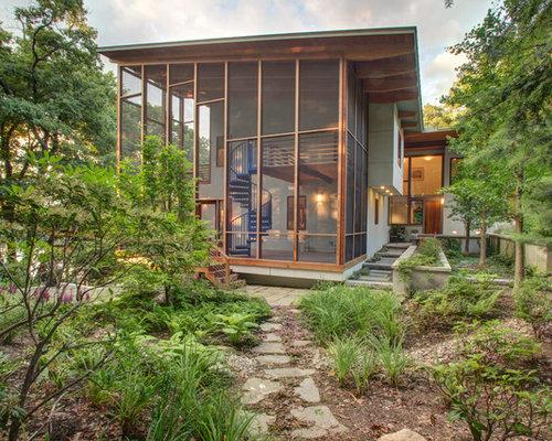 Contemporary Cantilevered Porch Overhang Home Design Ideas