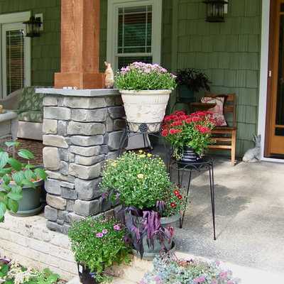 Elegant porch photo in Other with a roof extension