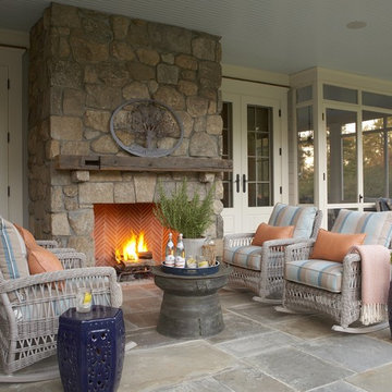 Covered Porch with Exterior Fireplace
