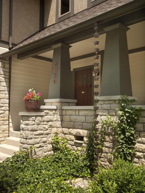 Front porch columns home design ideas renovations photos for Arts and crafts porch columns