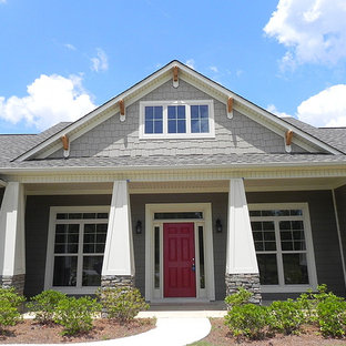 This is an example of a craftsman porch design in Atlanta.