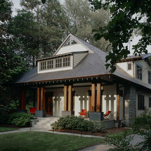Arts and crafts porch idea in DC Metro with a roof extension