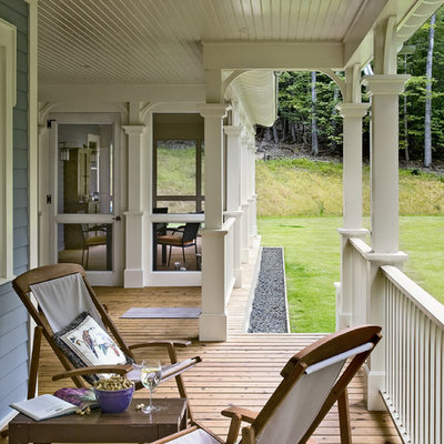 Classic porch idea in New York with decking and a roof extension