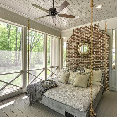 Farmhouse screened-in porch idea in Atlanta with decking