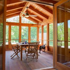 Contemporary Porch by New Energy Works Timberframers