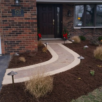 Custom Unilock Paver Walkway and Porch, Landscaping and Lighting (Late Fall Inst