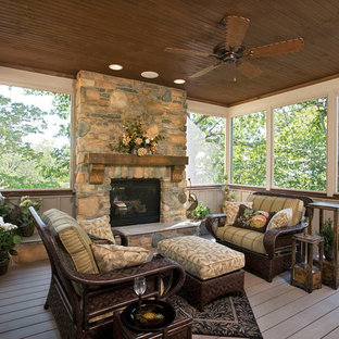 Large mountain style screened-in back porch photo in Other with a roof extension and decking