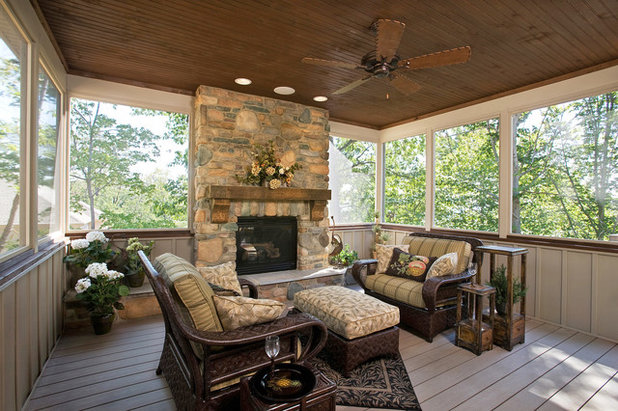 Rustic Porch by Custer Homes Inc