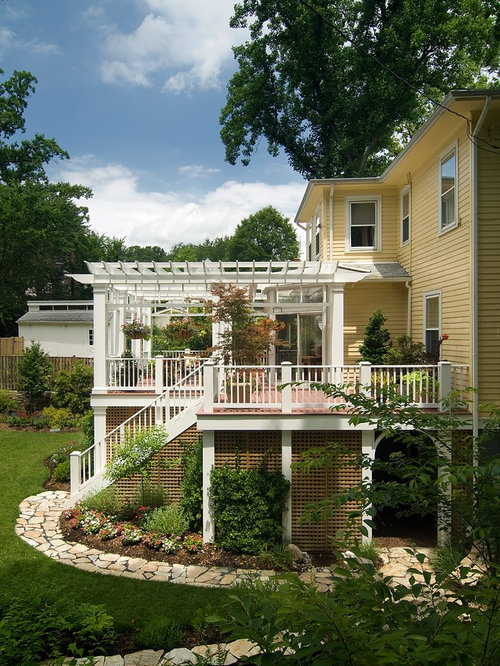 This Is An Example Of A Traditional Porch Design In DC Metro With Decking  And A