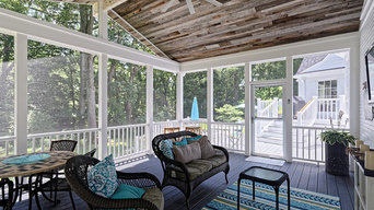 Deck and Screened Porch Featured Reclaimed Wood Ceiling