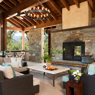 Beautiful Large Tuscan Back Porch Photo In San Francisco With A Fire Pit And A Roof  Extension