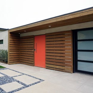 driveway at midcentury entry design