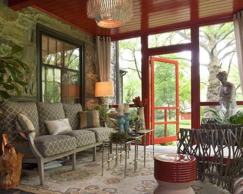 Inspiration For A Small Contemporary Stone Screened In Back Porch Remodel  In Philadelphia With A