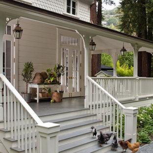 Cette image montre un porche avec des plantes en pot avant traditionnel avec une extension de toiture.
