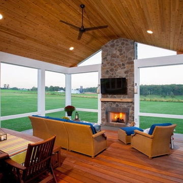 Elevated Screened Porch and Patio with Outdoor Fireplace in Sykesville, MD