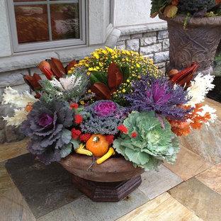 Свежая идея для дизайна: маленькая веранда на переднем дворе в классическом стиле с растениями в контейнерах, покрытием из каменной брусчатки и навесом - отличное фото интерьера