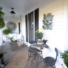 Eclectic Porch Farmhouse Back Porch and Garden