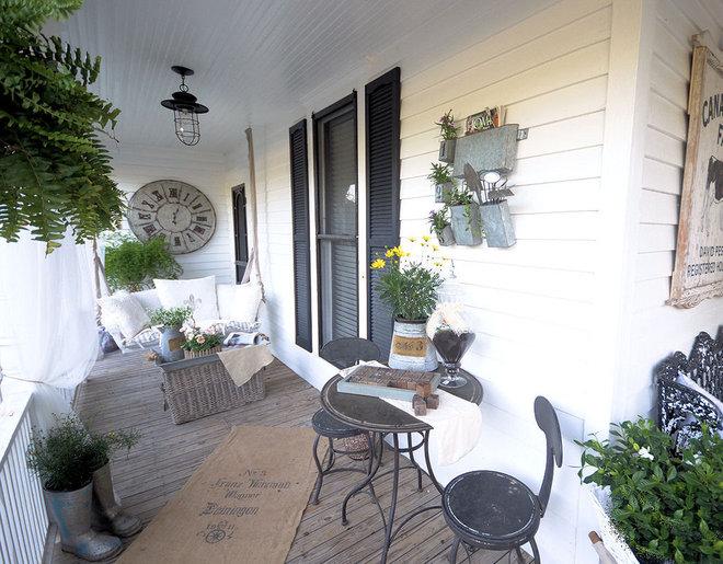 Eclectic Porch Farmhouse Back Porch and Garden